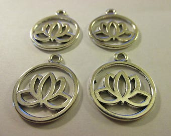 "Silver Tone Metal Lotus Blossom in Circle Charms, 3/4"", Set of 4"