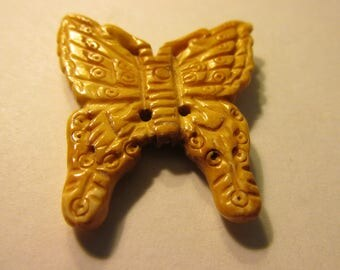Carved Bone Butterfly Bead Pendant, 1 1/2""