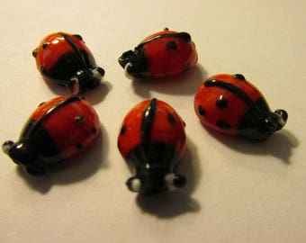 Lampwork Glass Red and Black Lady Bug Beads, 15mm, Set of 5
