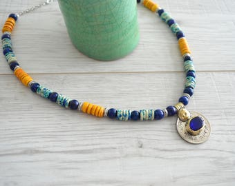 Afghan Kuchi Coin Necklace, Vintage OOAK Ceramic beaded Necklace, Ethnic Moroccan Lapis Lazuli beaded necklace, Tribal Ethnic Coin Jewelry