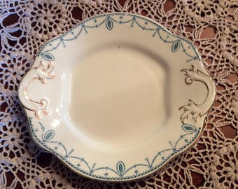 Antique ironstone Bridgewood Anchor china tea cake plate with handle  green and gold trim