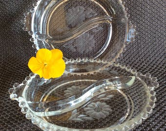 Vintage Imperial glass Candlewick pattern Hughes Cornflower etch divided relish dish platter plate