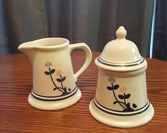 Pfaltzgraff Windsong, Creamer and Sugar with Lid