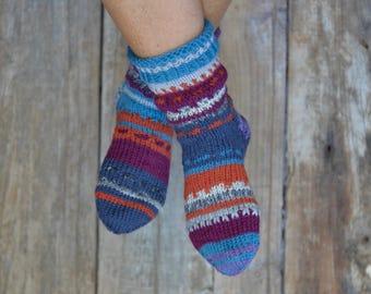 colourful House socks, handknit, 37/38