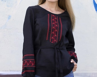 Vyshyvanka embroidered blouse. Black linen ukrainian embroidered blouse. Ukrainian vyshyvanka. In Stock Size plus avialable
