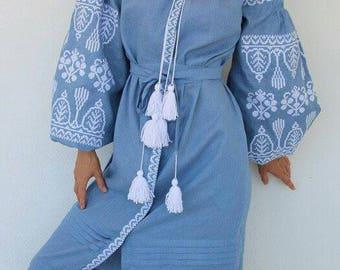 Mexican Style blue embroidered linen ethnic dress vyshyvanka Bohemian dress. Vyshyvanka Ukrainian national clothing