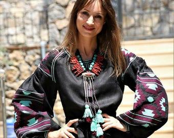 Bohemian Linen Vyshyvanka Mini Dress. Ukraine Short Embroidered Dress Tunic. Ethnic Embroidery. Free shipping
