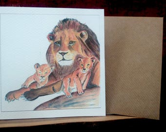Hand drawn and painted lion and cubs card, personalised, fathers day, birthday