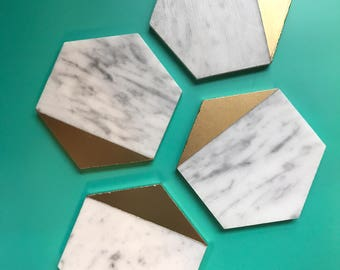 Gold & Marble Coasters // Marble Stone Coasters // Marble Coasters // Marble Home Decor // Marble // Carrara Marble //
