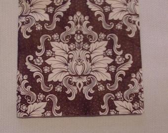 X 20 paper napkins - Deco brown white flowers - 33 cm x 33 cm - Table decor / decoupage Collage