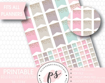 Gold Glitter Specks Flags Printable Planner Stickers | Ballerina | JPG/PDF/Silhouette Compatible Cut Files