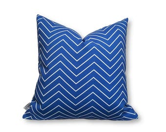 Blue Chevron Print Cushion Cover, Indoor Outdoor Cushion Cover, Decorative Cushion, Zig Zag Cushion, Blue Cushion, Blue Chevron Pillow