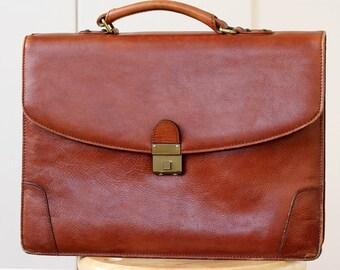 Honey Tan Leather Briefcase, Vintage Tan Office Briefcase, Lawyers Tan Brown Briefcase, Honey Tan Leather Laptop bag, Dark tan Briefcase