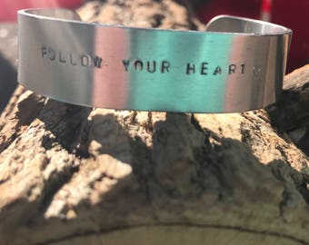 Custom hand stamped cuff bracelet