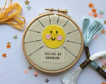 """You Are My Sunshine Embroidery Hoop, 4"""" Embroidery Hoop, Nursery Decor, Wall Art, Wall Hanging"""
