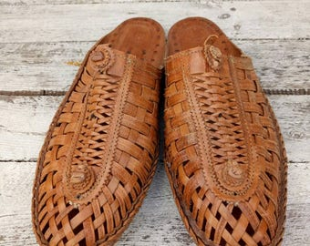 Men's Vintage Slipper Leather size 9/40/41 from India Manmade
