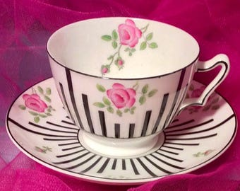 Pretty in Pink-Paragon China Art Deco Teacup and Saucer
