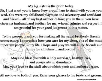 Toast To Bride From Brother Printable Download Best Man Print