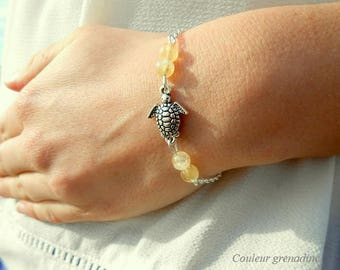 Turtle bracelet and beads, yellow citrine semi precious stone silver chain, gift idea for large party day, Easter