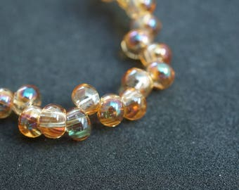 50 glass Pearls Drop of water Color Golden champagne AB