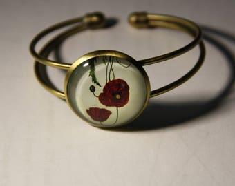 Bronze bracelet duo poppy pattern glass cabochon, adjustable