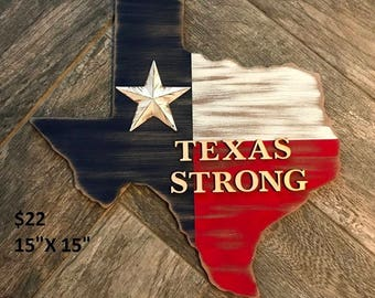 Rustic Texas Strong Sign