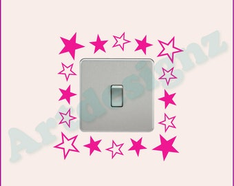 STARS Girls Kids Childrens Bedroom Nursery Home Decor Vinyl Matt Wall Light Switch Sticker Surround Decal Transfer *20 colours*
