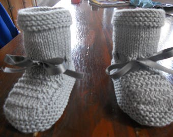 baby Wool Slipper: cotton and acrylic grey