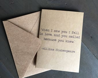 Shakespeare Valentine's Day Card