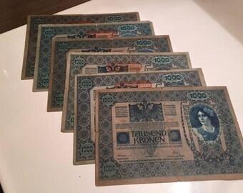 1902 Tausend Kronen~Osterreich Ungarische Banknotes (6)