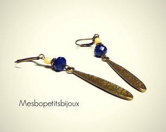 Drop earrings, blue beige