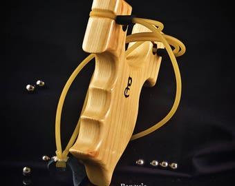 Wood Slingshot, Ash, Catapult, Hunting Custom Made Slingshot, Pocket Slingshot, Ergonomic for Large or Small Hands, Artisan Slingshot