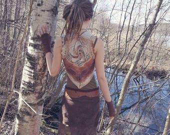Earthy crochet spiral lace vest size M