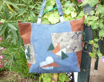 Two-tone jeans and brown leather tote bag