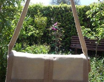 Jute and hemp shoulder Messenger bag