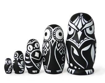 "Tribal Owls, Nesting Dolls Set, 5 pcs, 4,3"""