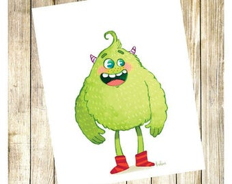 "Reproduction signée ""Monstre fluffy vert"""