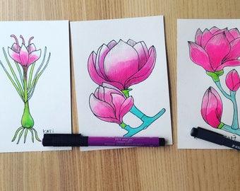 3 original drawings in ink of 10 x 15 cm each