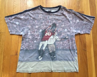 Vintage Tommy Hilfiger tshirt size Youth Medium YM all over print TH football tackle