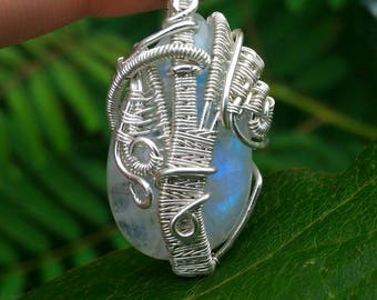 Moonstone Sterling Silver Wire Wrapped Pendant SALE