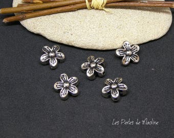 Set of 4 Silver - flower - shaped acrylic beads 15 mm - ref:v056