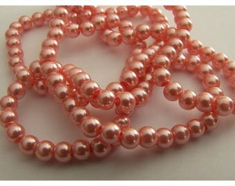 Set of 5 pearl beads round - pink - 8 mm