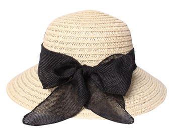 Bow Bucket Straw Hat Sun Hat