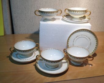 Haviland France Limoges China, 5 Double-Handled Cups and 4 Saucers