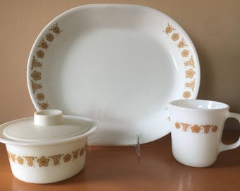 Corelle/Pyrex Butterfly Gold Serving Pieces Lot