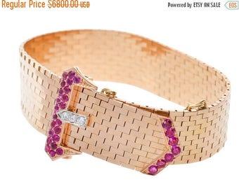 ON SALE MARKED Down! Tiffany Bracelet Buckle  | Tiffany & Co Retro Ruby Diamond Bracelet | Vintage Signed Rose Gold || 17215