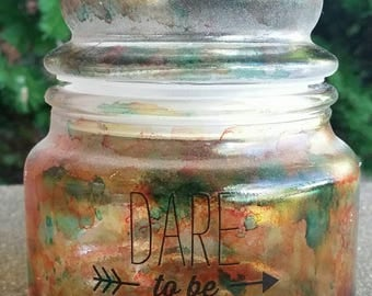 Beautiful multi colored hand painted glass jar with lid and inspirational saying great for candy candles and more with free shipping