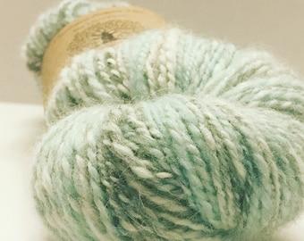 Robin Egg Handspun Yarn, angora and wool blend, gray, white, blue, aqua