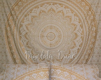 Boho decor, mandala tapestry, Mandala wall hanging, Gold tapestry, wall Tapestry, Boho tapestry,  wedding gift, wall hanging