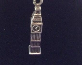 Sterling silver London Big Ben charm vintage # 1151